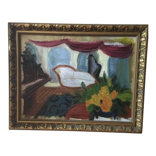 Modern Still Life Painting on Canvas of Piano and Chair