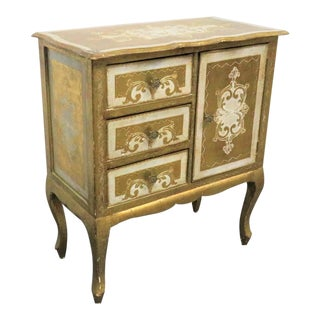 Florentine Italian Cream & Gold Nightstand For Sale