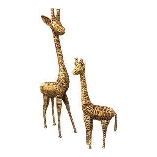 Pair, Floor Standing Tall Woven Seagrass Giraffes For Sale
