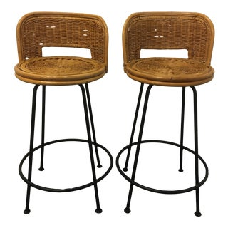 Vintage Boho Swivel Wicker Bar Chairs- a Pair For Sale