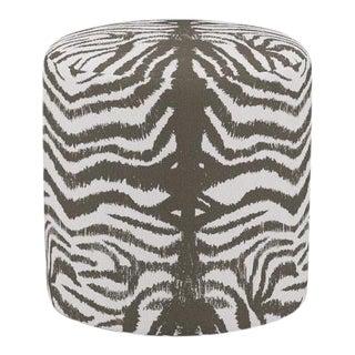 Drum Ottoman in Zebra For Sale