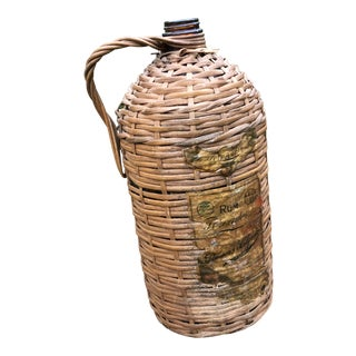 1920s Boho Chic Demijohn Wrapped Rum Jug For Sale