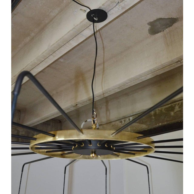 Brass Brass and Steel Modern Spider Chandelier For Sale - Image 7 of 11