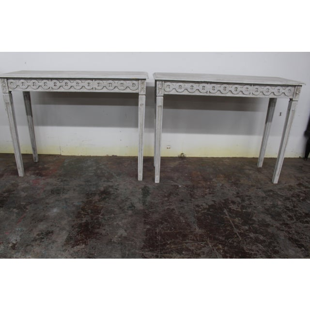 Gray 20th Century Vintage Swedish Gustavian Style Console Table For Sale - Image 8 of 9