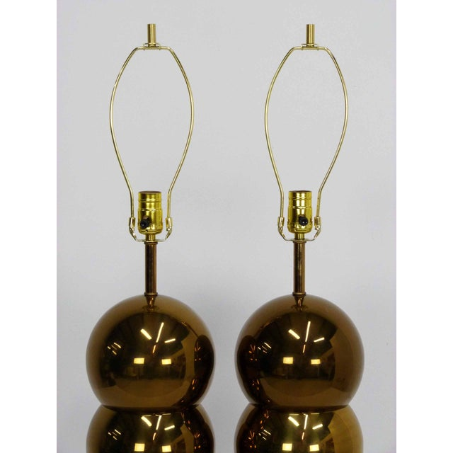 George Kovacs George Kovacs Brass Stacked Ball Lamps - A Pair For Sale - Image 4 of 7