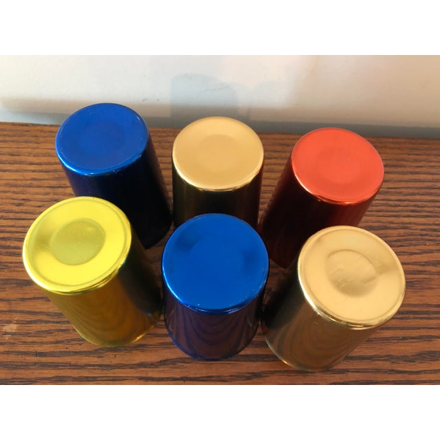 Final Price! Blue Red Gold and Yellow Mid-Century Aluminum Tumblers - Set of 6 For Sale - Image 4 of 5