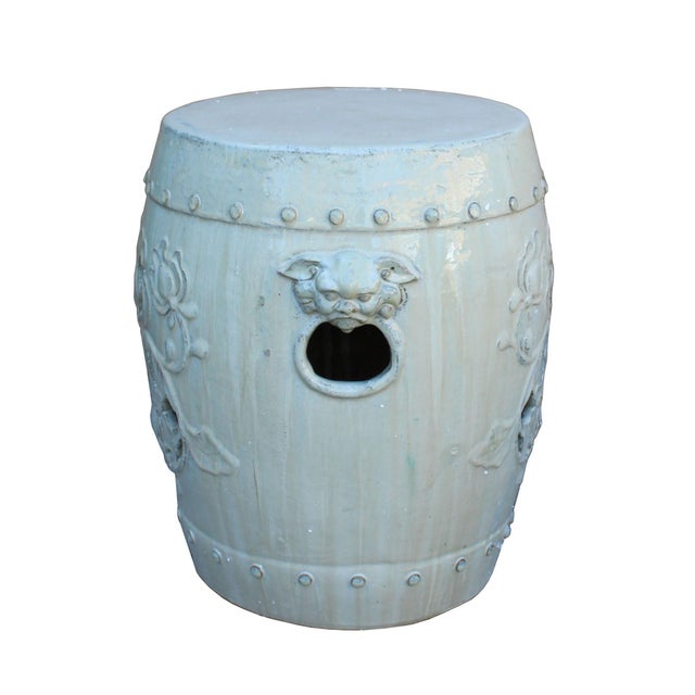 Arts & Crafts Chinese Off White Round Lotus Clay Ceramic Garden Stool Table For Sale - Image 3 of 6