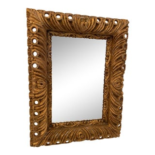 Italian Rococo Carved Wood Mirror For Sale