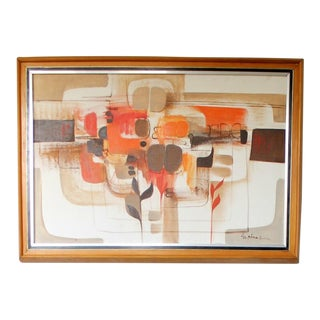 Mid-Century Abstract Oil Painting For Sale