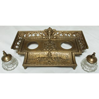 Brass Standish With Glass Inkwells Preview