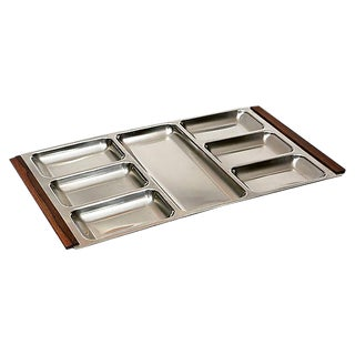 Danish Stainless Steel & Rosewood Tray