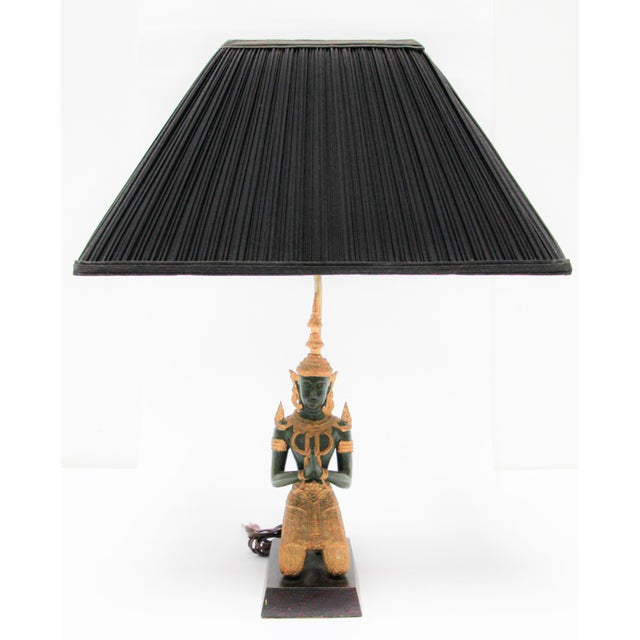 Bronze Statue of a Thai Teppanom Kneeling Angel Buddha Table Lamp For Sale - Image 12 of 12
