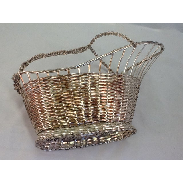 1970s Silver Plate Woven Wine Bottle Basket - Image 5 of 6