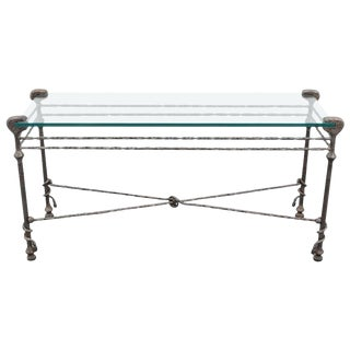Diego Giacometti style Mid-Century Hammered Iron Console Table For Sale
