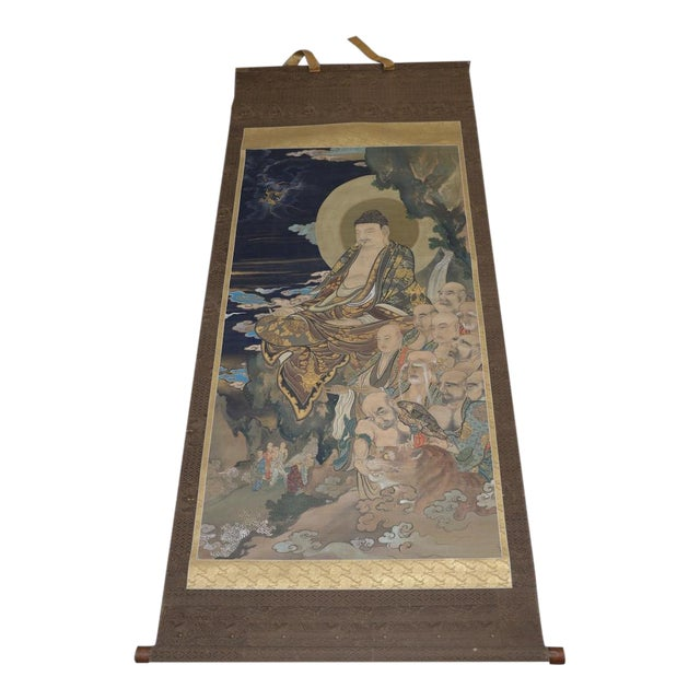 Antique Japanese Hanging Scroll With Buddha and His Disciples C.1910 For Sale