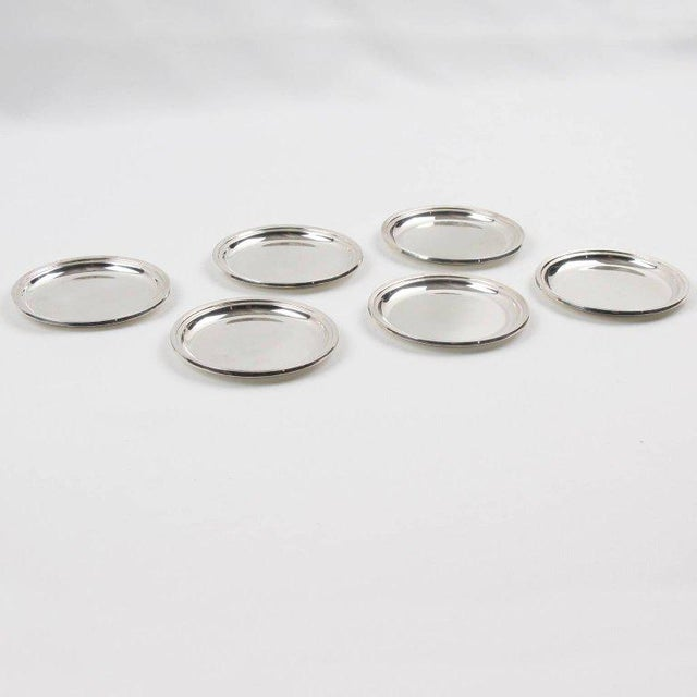 Contemporary Jezler Modernist Sterling Silver Barware Coasters - Set of 6 For Sale - Image 3 of 7