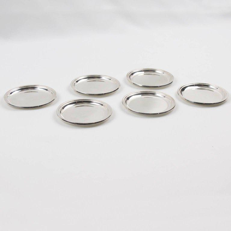 Nice Jezler Modernist Sterling Silver Barware Coasters   Set Of 6   Image 3 Of 7