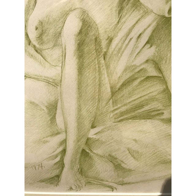 Robert Ralph Carmichael 1970s Vintage Nude Woman Graphite Drawing For Sale - Image 4 of 8