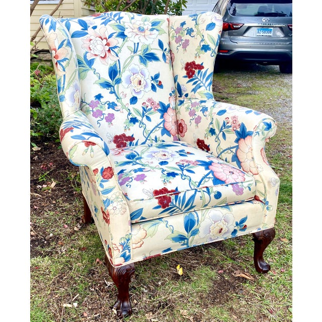 Large Scale English Wingback Chair in Peony Chintz For Sale - Image 13 of 13