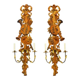 Italian Carved Gilt and Wood Two Arm Musical Themed Wall Sconces - a Pair For Sale