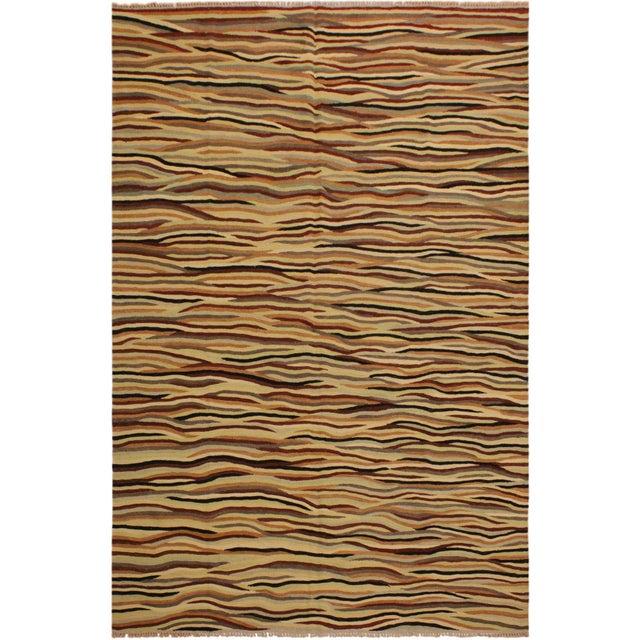 Beige Boho Chic Cinderel Beige/Red Hand-Woven Kilim Wool Rug -5'10 X 8'3 For Sale - Image 8 of 8
