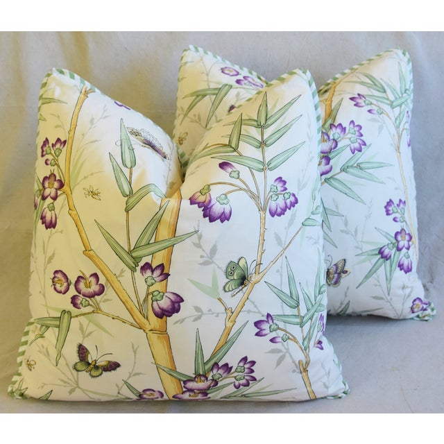 "Feather Clarence House Bamboo Fabric Feather/Down Pillows 21"" Square - Pair For Sale - Image 7 of 13"