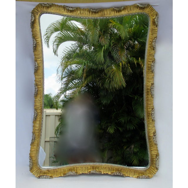 Art Deco Vintage C.1963 Hollywood Regency, Italian Venetian Carved Gilt Gold & Silver Scalloped Mirror For Sale - Image 3 of 13