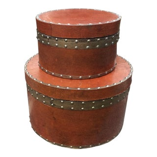 Metal Studded Hat Storage Boxes - A Pair