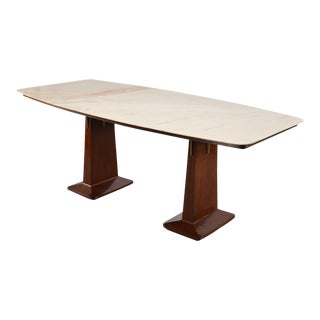 Italian Mid-Century Double Pedestal Table With Marble Top For Sale