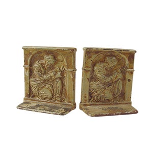 Scholar Enamel Cast Iron Bookends - A Pair For Sale
