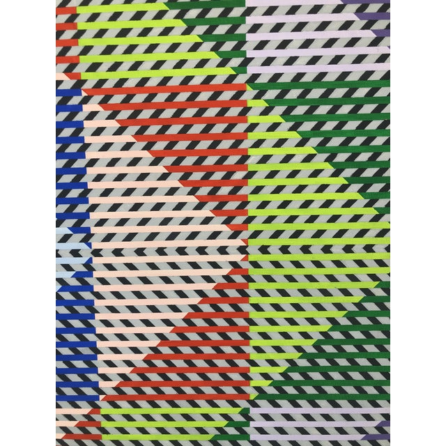 Canvas 1980s Gabe Silverman Abstract Op Art Painting on Canvas For Sale - Image 7 of 10