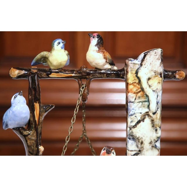 19th Century Hand-Painted Barbotine Majolica Well Sculpture With Birds Signed J. Massier - Image 4 of 10