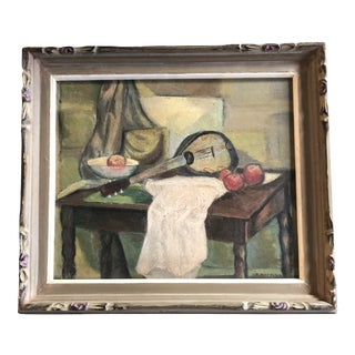 Vintage Modernist Original Tabletop Still Life Painting Carved Wood Frame For Sale