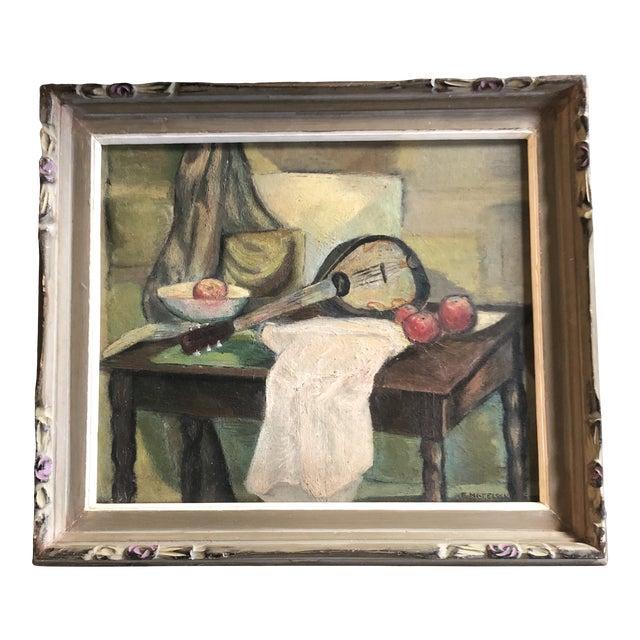 Vintage Modernist Original Tabletop Still Life Painting Carved Wood Frame For Sale