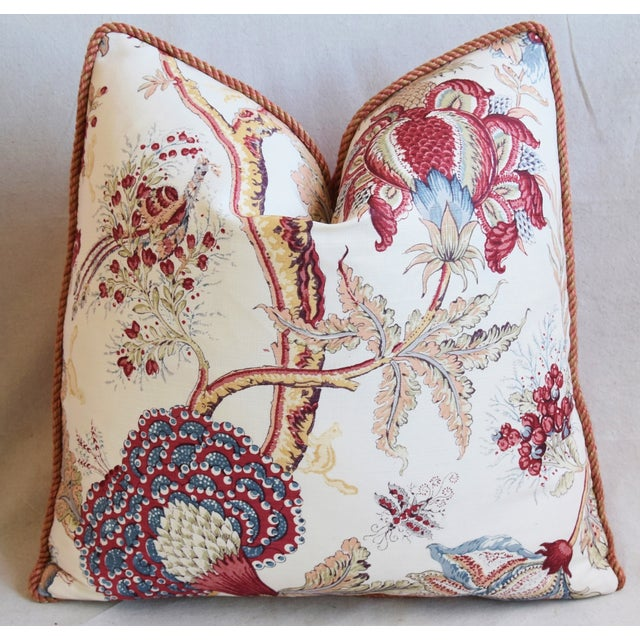 """Early 21st Century Designer Bennison Dragon Flower Floral Linen Feather/Down Pillows 22"""" Square - Pair For Sale - Image 5 of 12"""