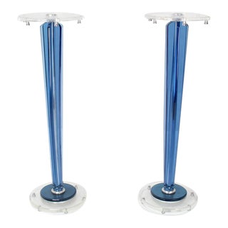 Pair of Tall Clear and Blue Lucite Tapered Bases Pedestals For Sale