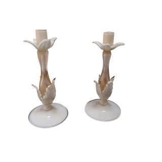 Barovier & Toso Murano Glass Candlesticks - A Pair