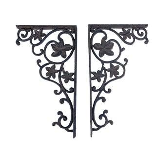 "Vintage Cast Iron Architectural Garden Hangers Art Wall Decor - a Pair 13.25"" H For Sale"