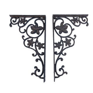 Vintage Cast Iron Architectural Garden Hangers Art Wall Decor - a Pair For Sale