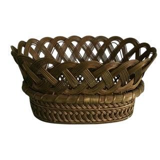 Vintage Woven Brass Basket For Sale