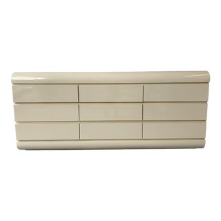 1980s Karl Springer Style Cream White Nine Drawer Waterfall Lowboy Dresser Credenza For Sale