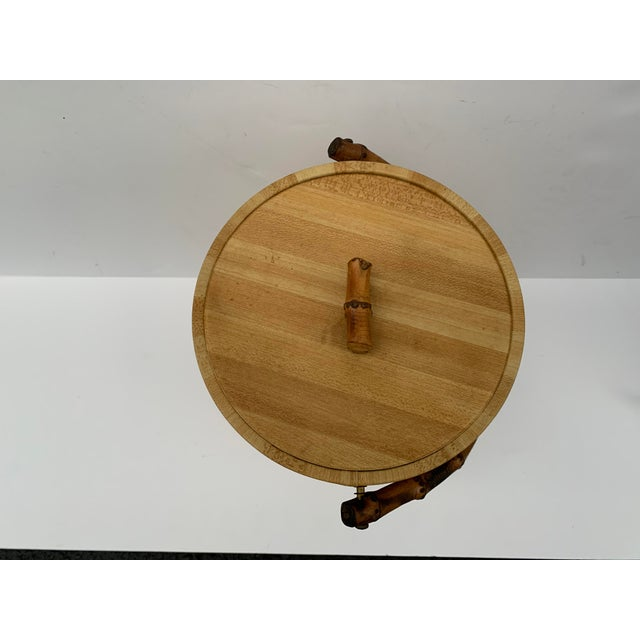 MCM Vinyl and Bamboo Ice Bucket Set For Sale In West Palm - Image 6 of 13