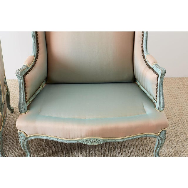 Pair of Louis XV Style Marquise Winged Bergère Armchairs For Sale - Image 11 of 13