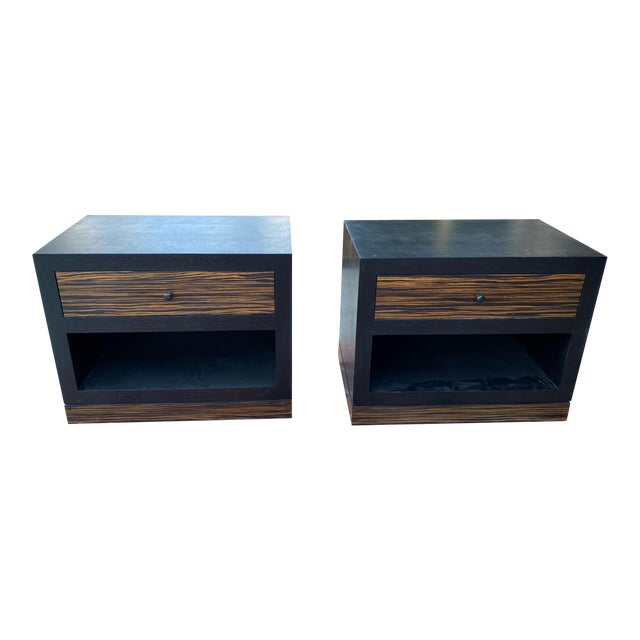 1990s Ldc Design Studio Side Tables-Zebra Wood For Sale