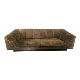 1970's Suede Sofa by Jules Heumann for Metropolitan For Sale