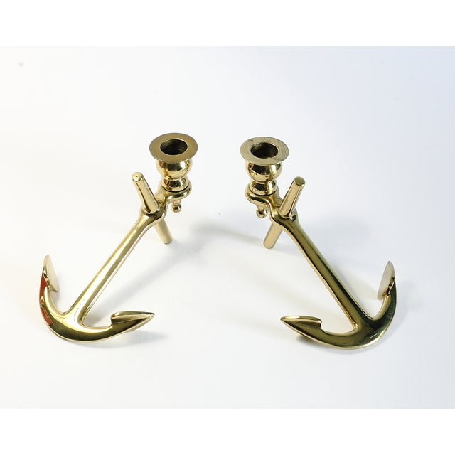 Brass Anchor Candle Holders - A Pair - Image 3 of 5