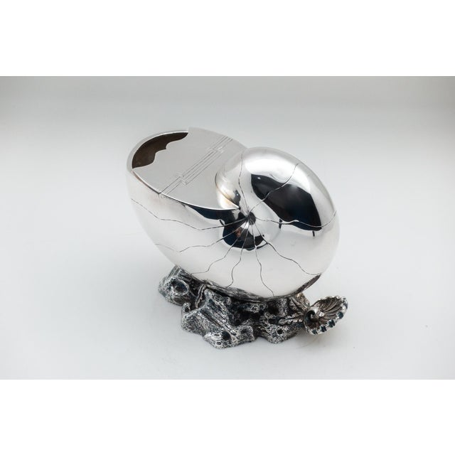 Victorian 1870 English Nautilus Spoon Warmer, Silver Plated For Sale - Image 3 of 9