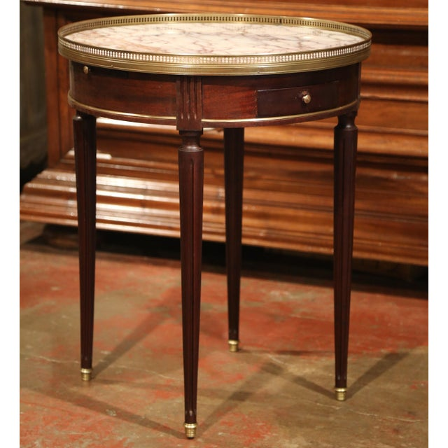 Early 20th Century French Louis XVI Round Bouillotte Table with Marble Top - Image 4 of 10