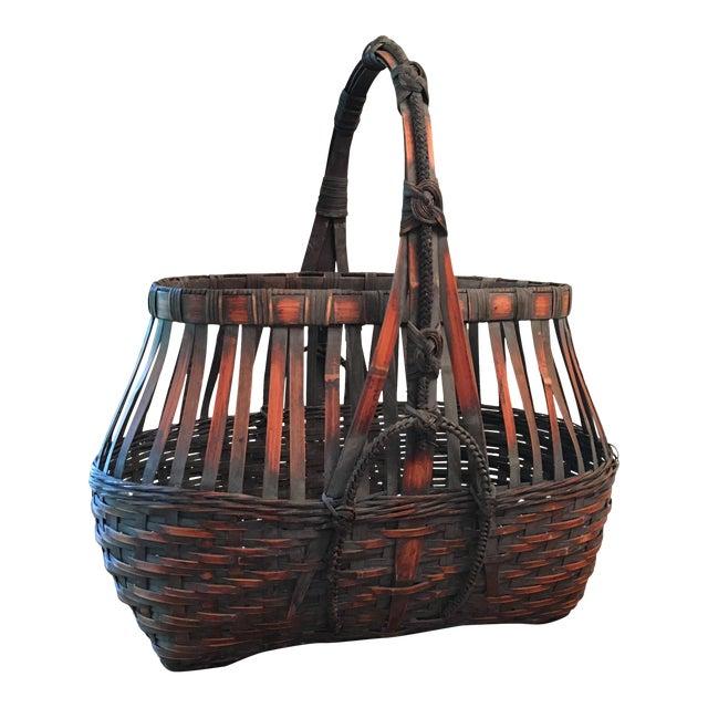 Monumental Bamboo Basket Asian Ikebana For Sale