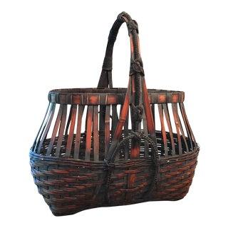 Monumental Japanese Bamboo Ikebana Basket For Sale